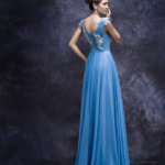 back of blue evening dress