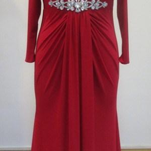 Red Long Sleeve Plus Size Evening Gowns - Darius Cordell Fashion Ltd