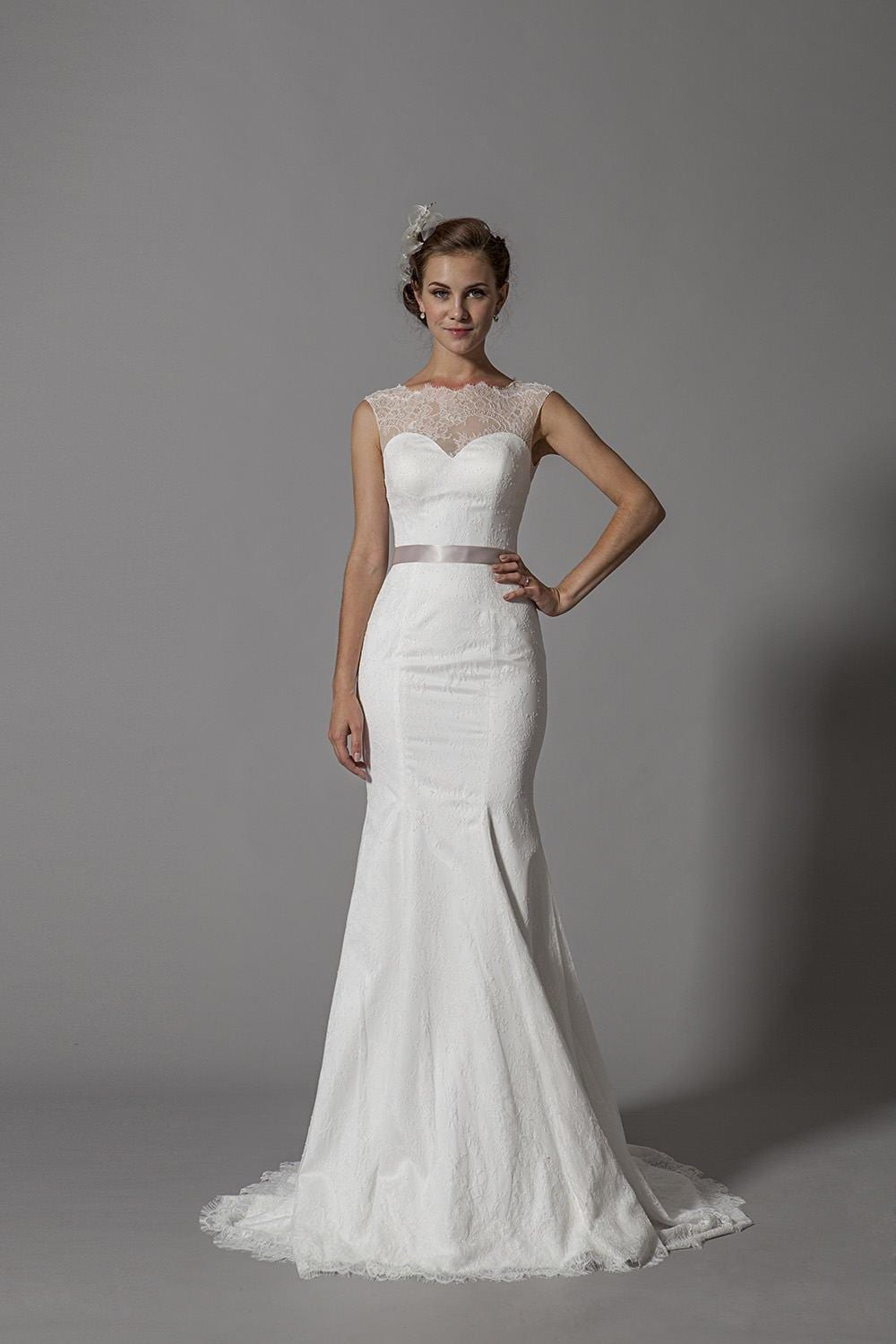 Delicate lace wedding dress with illusion neckline for Lace wedding dress with illusion neckline