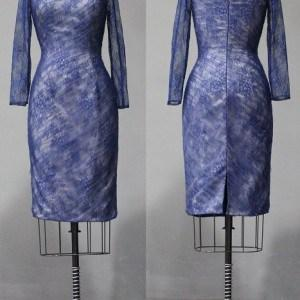 Blue lace cocktail dresses with long sleeves