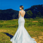 Sheer back wedding gowns