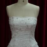 strapless basque waist line wedding dress for plus size brides