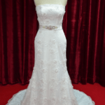 beaded lace wedding gown with belt
