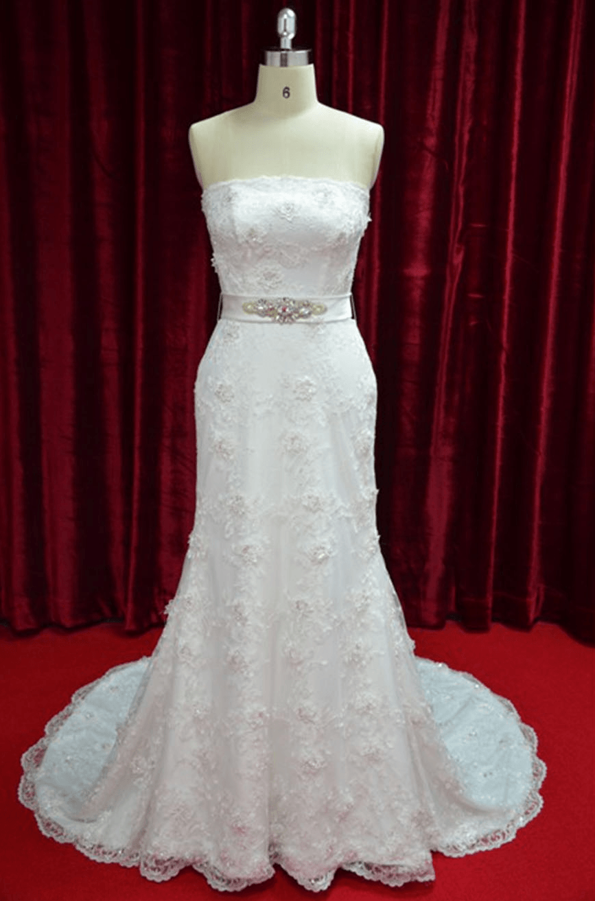 Beaded lace wedding gown with belt darius cordell for Lace wedding dress belt