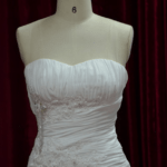 ruched sweetheart cut wedding gown