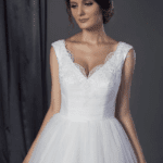 lace neckline wedding gown