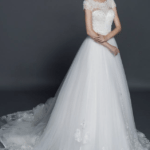 cap sleeve wedding gown with cathedral train