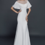 wide flutter sleeve wedding gown