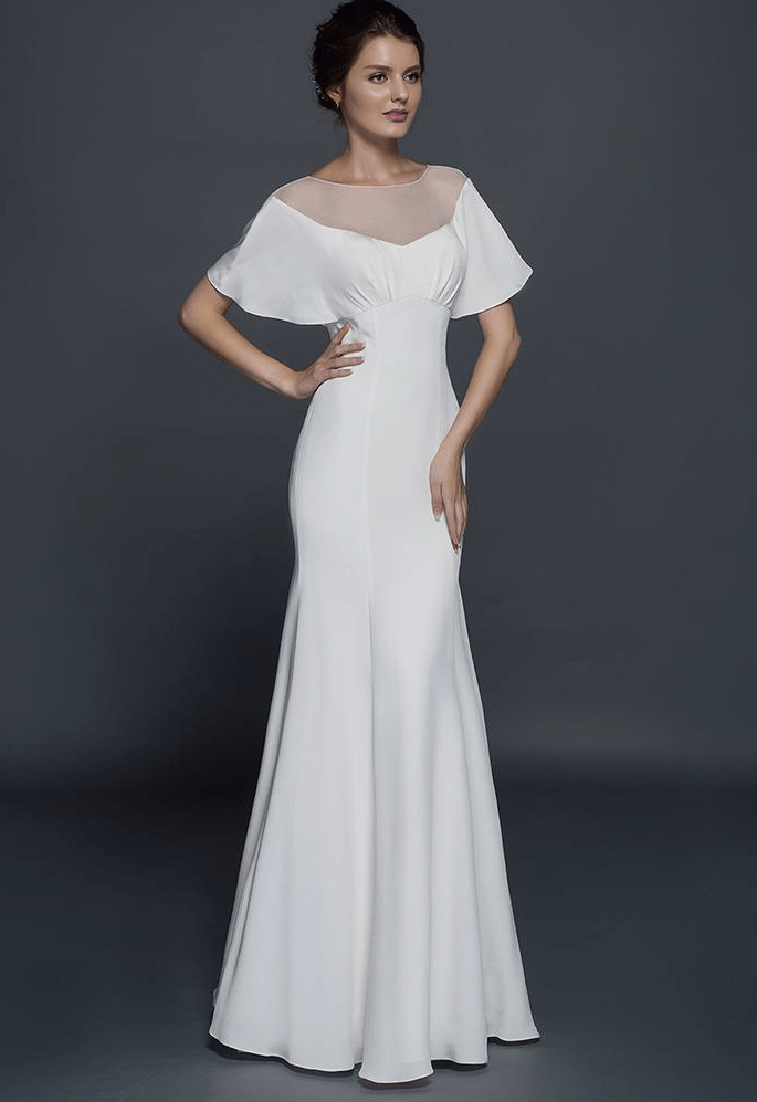 Wide flutter sleeve wedding gown darius cordell fashion ltd for Wedding dress sleeve styles