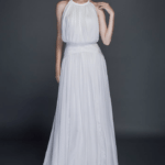 sleeveless blouson wedding dresses