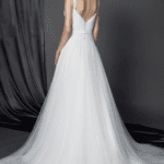 wedding gown with sweep train