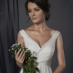 v neck wedding gowns
