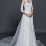 wedding gowns with lace sleeve jacket cover ups