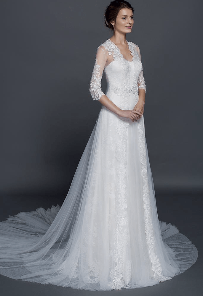 style 50150018 wedding gowns with lace sleeve jacket cover ups