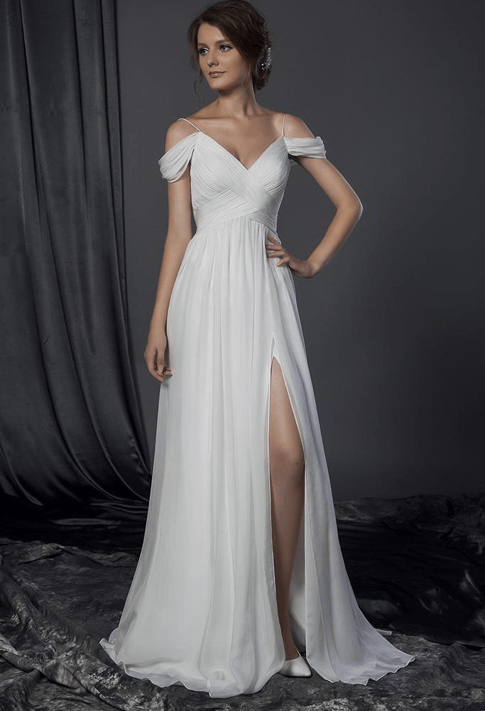 Draping off the shoulder wedding gown with leg slit by darius for Wedding dress off the shoulder