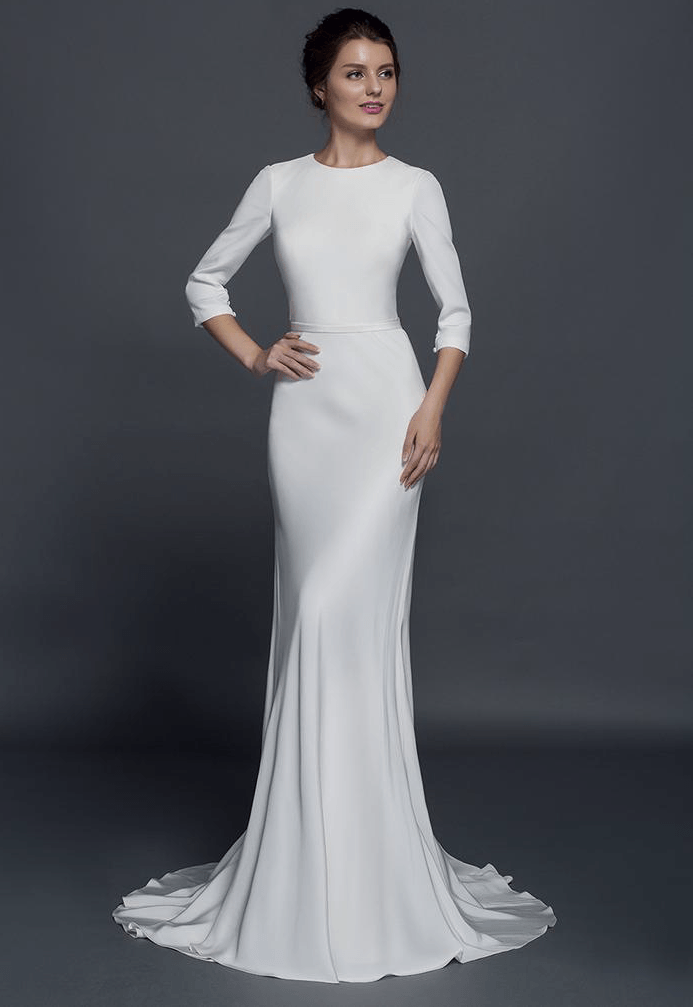 Modest long sleeve wedding dresses from darius couture for Long straight wedding dresses