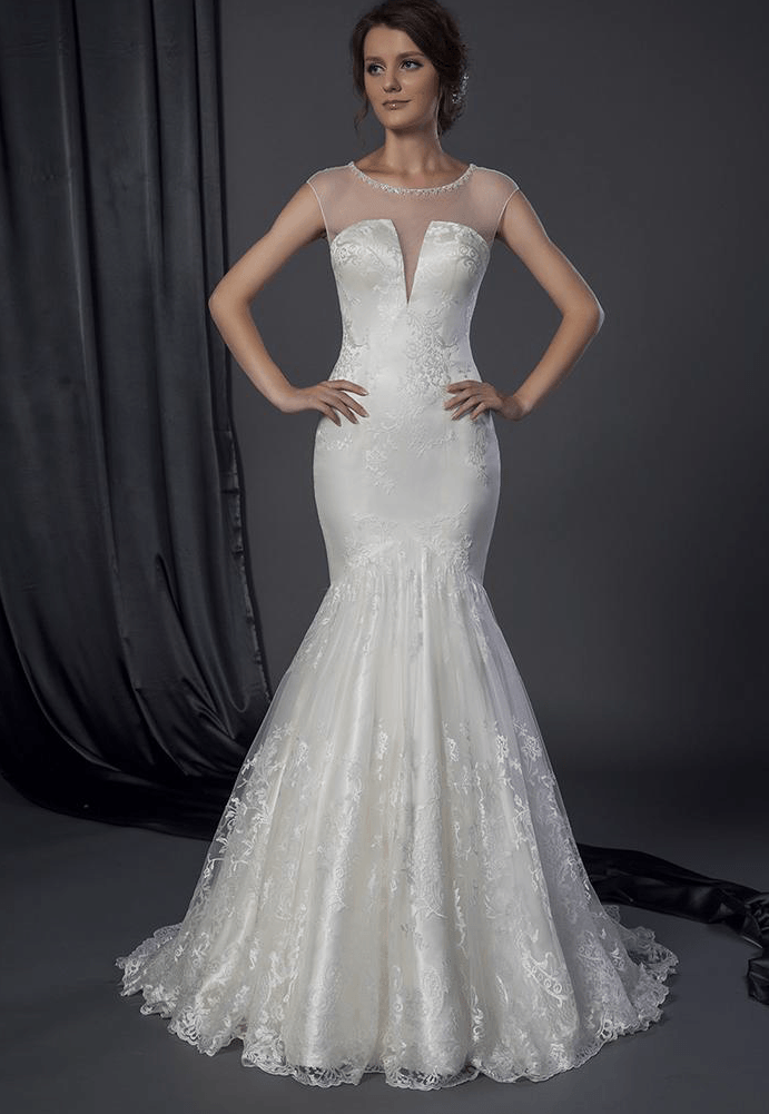 Wedding dress sheer neckline gown and dress gallery for Wedding dresses with sheer illusion neckline