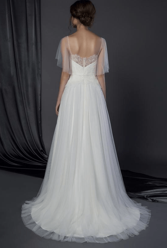Bridal dress with Flutter sleeve cover up - Darius Cordell