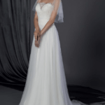 bridal dress with flutter sleeve cover up