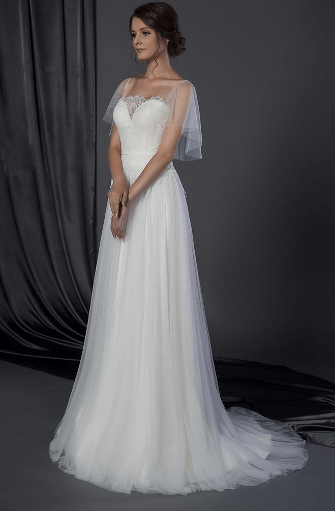 Bridal dress with flutter sleeve cover up darius cordell for Flutter sleeve wedding dress