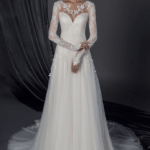 long sleeve bridal dress with lace arms and neck line