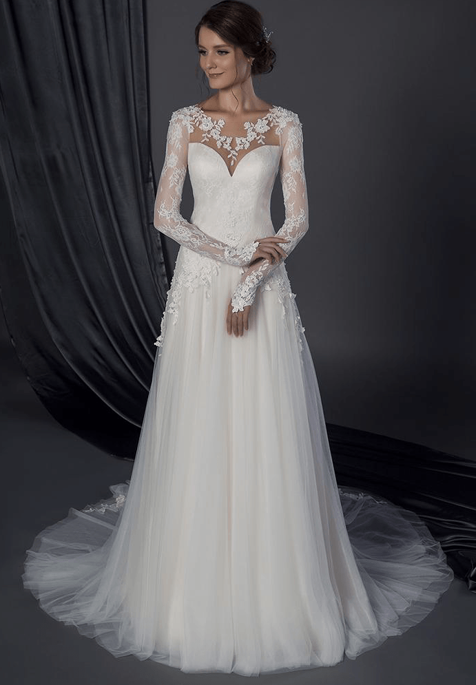 Modest long sleeve wedding gown with lace sleeves for Long wedding dresses with sleeves