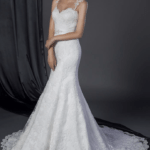 wedding gown with wide lace shoulder straps