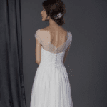 back of sheer off shoulder bridal dress