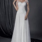 sheer off the shoulder bridal dress
