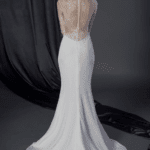 inexpensive sheer back bridal dress