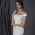 inexpensive couture bridal gowns with off the shoulder design