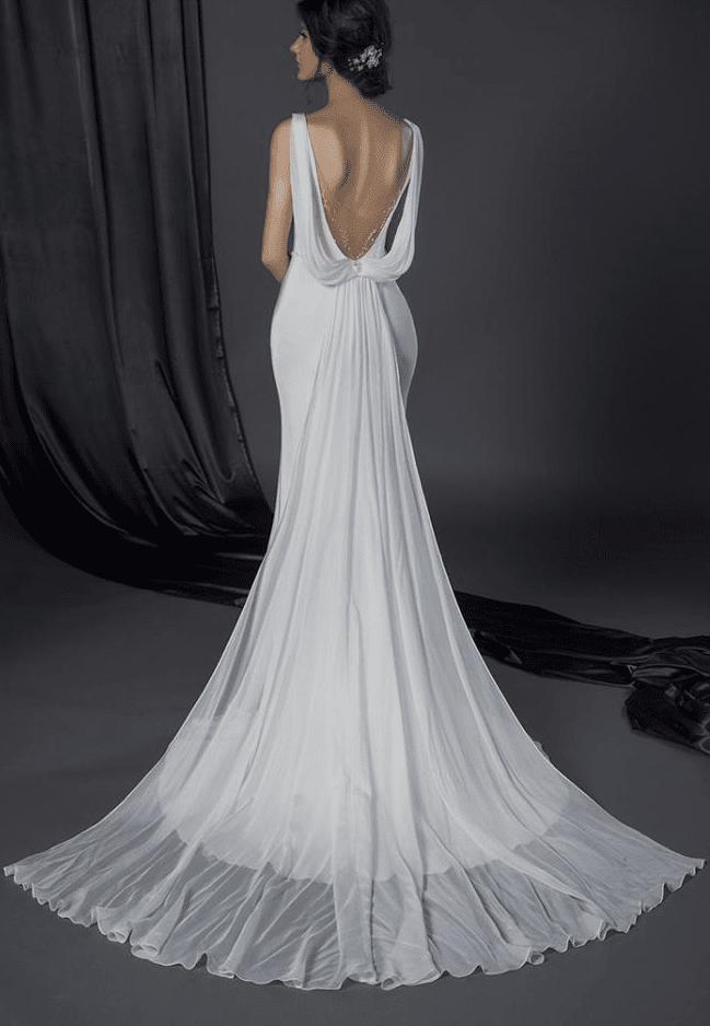 Cowl back bridal gown darius cordell fashion ltd for Cowl back wedding dress
