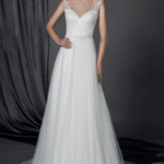 Sheer neckline wedding gown