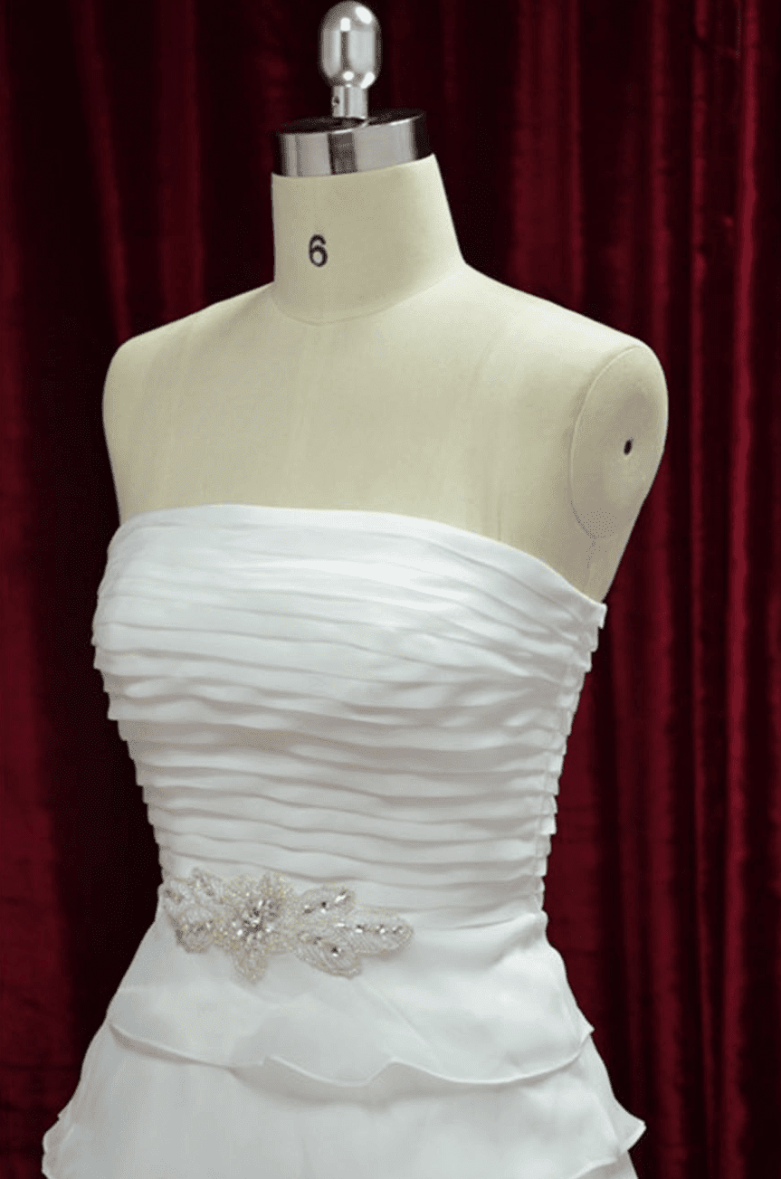 Strapless wedding gown with tiered a line skirt for A line skirt wedding dress