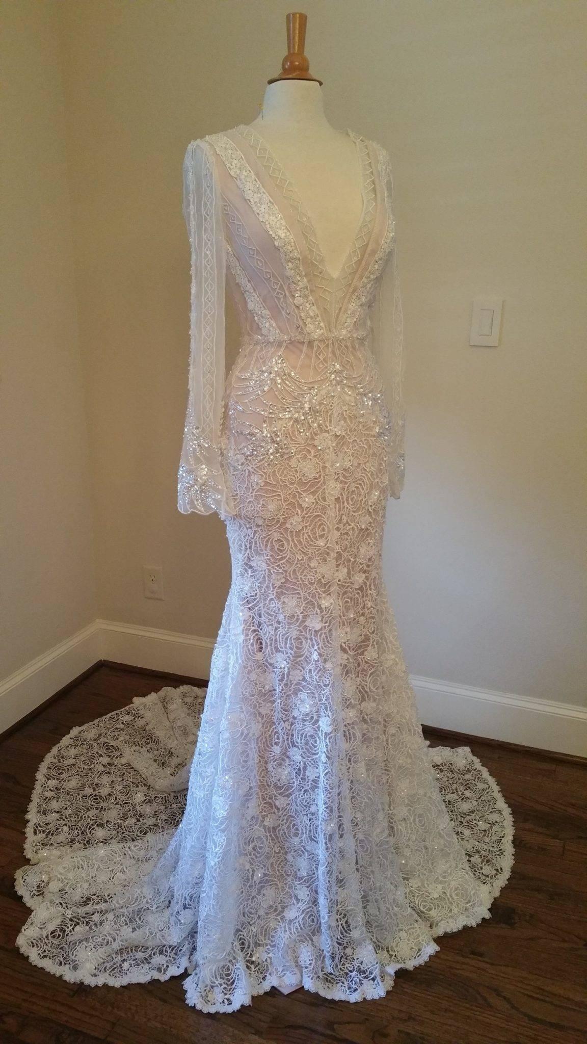 V-neck Long Sleeve Wedding Dresses Inspired by Inbal Dror