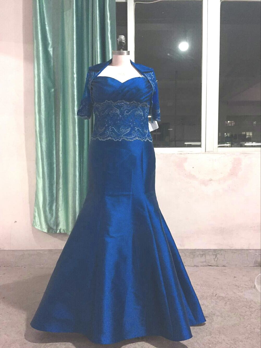 Blue Plus size Evening Gown with Jacket - Darius Cordell