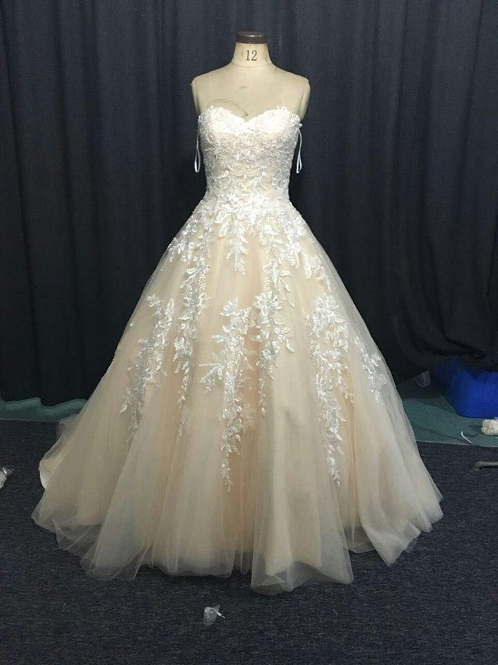 Two tone champagne lace wedding gowns from darius couture for Two color wedding dress