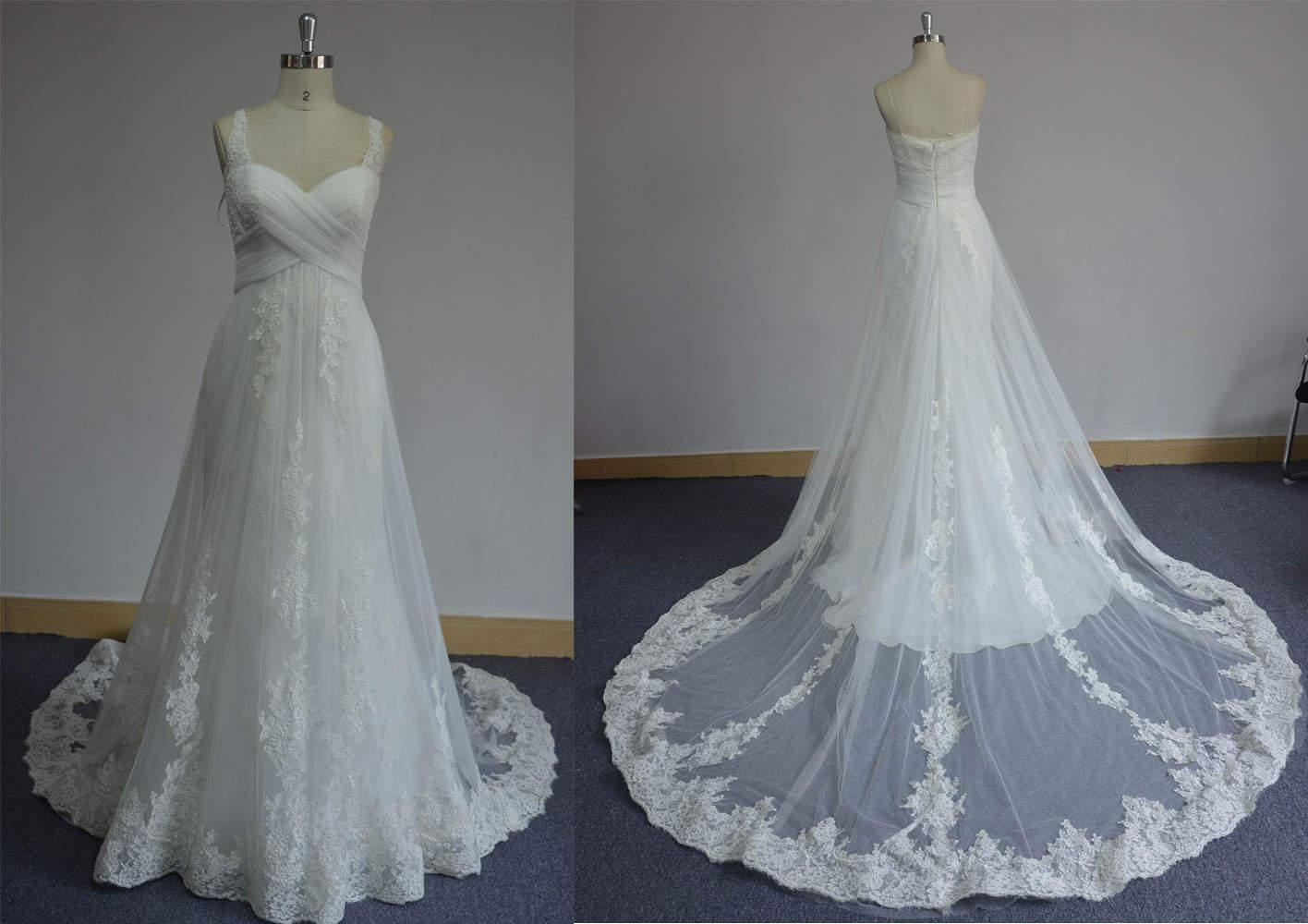 Lace maternity wedding gowns with empire waist darius for Empire waist plus size wedding dress