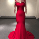 Style #Apr1021 - Red long sleeve mother of the groom evening dresses - Darius Cordell