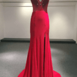 Style #Apr3036 - Red cap sleeve evening gown - Darius Cordell