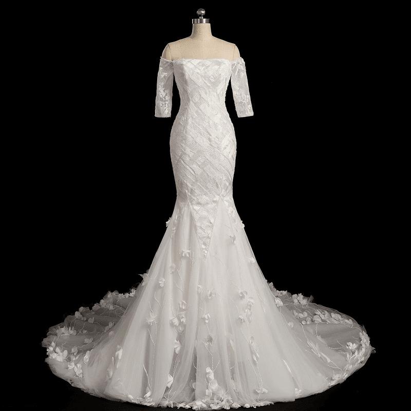 Off the shoulder three quarter sleeve wedding gowns for Three quarter wedding dresses