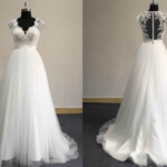 Cap sleeve plus size organza wedding gown with lace Darius Cordell