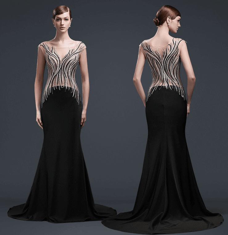 5ac7917bddb1a Style  yaz6071 - Cap sleeve Black Tie Evening gown - Darius Cordell ...