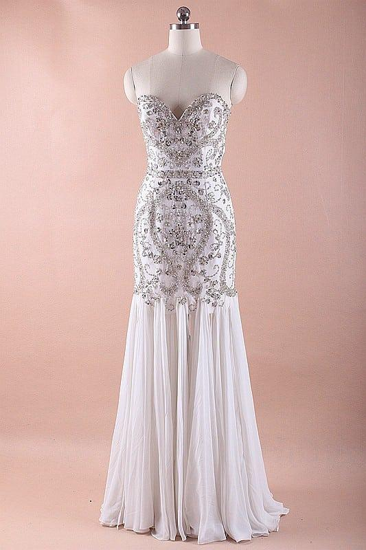 Beaded Silver And White Wedding Dresses Darius Designs