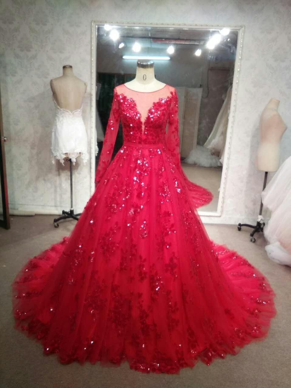Long Sleeve Red Wedding Gowns - Darius Cordell