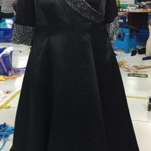B109- long sleeve black cuff & collar ball gown - Darius Cordell