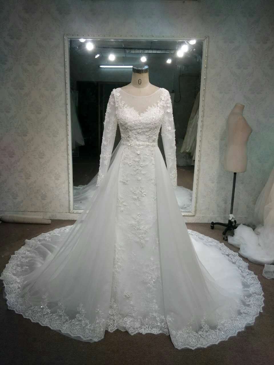 Lace overskirt wedding gowns with long sleeves by darius for Wedding dress with overskirt