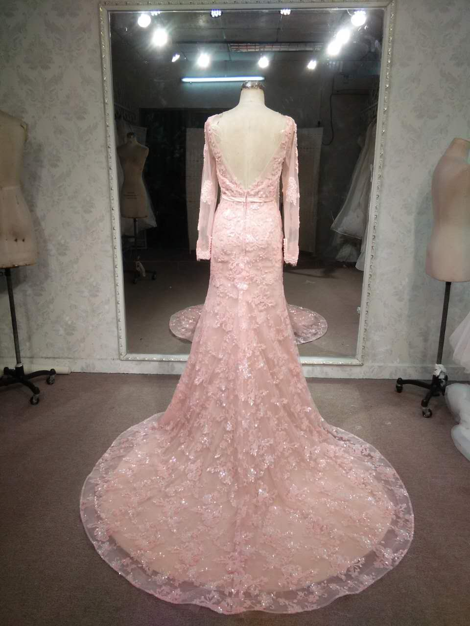 Long sleeve pink lace wedding gowns by Darius
