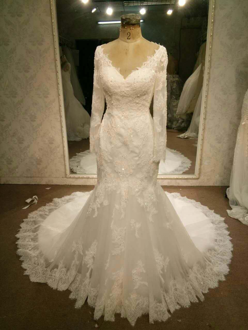 Long sleeve v neck lace wedding gowns darius cordell for Long sleeve lace v neck wedding dress