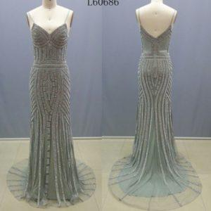 Style #L60686 silver beaded pageant gowns - darius cordell